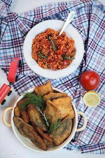 Fishschnitzel with Tomato Rice