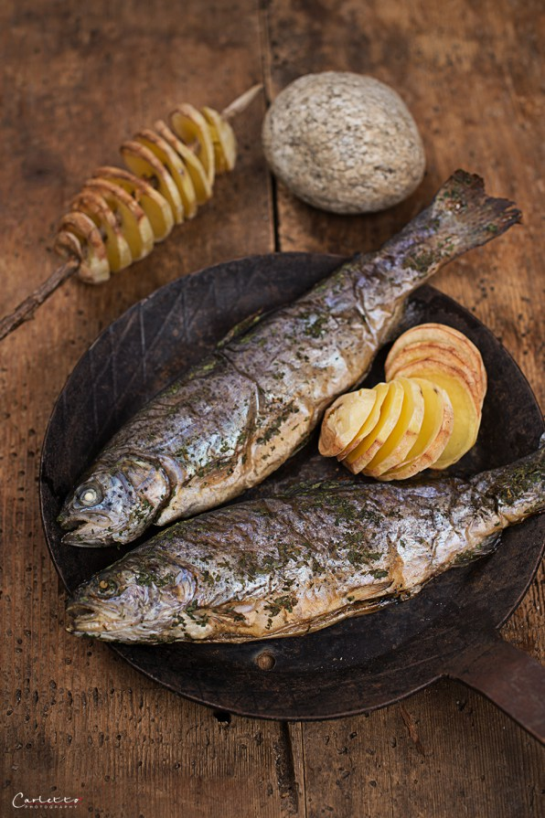 Campfire Fish with crunchy potato spits