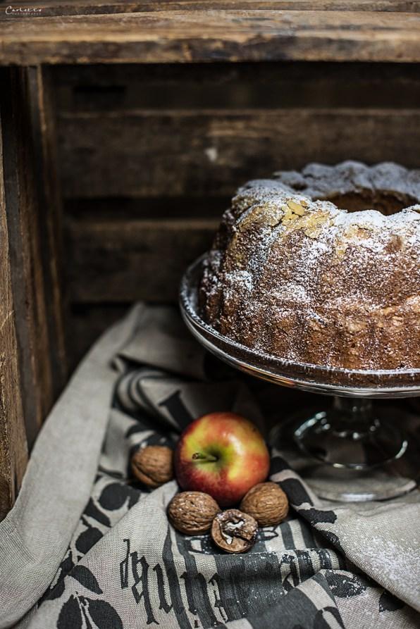 Walnut Boundt Cake with Cinnamon Apples