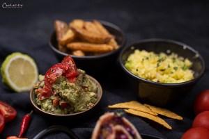 Steak & Gemüse Wraps mit 2erlei Dips & Wedges
