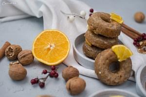 Orangen Walnuss Donuts mit Glasur