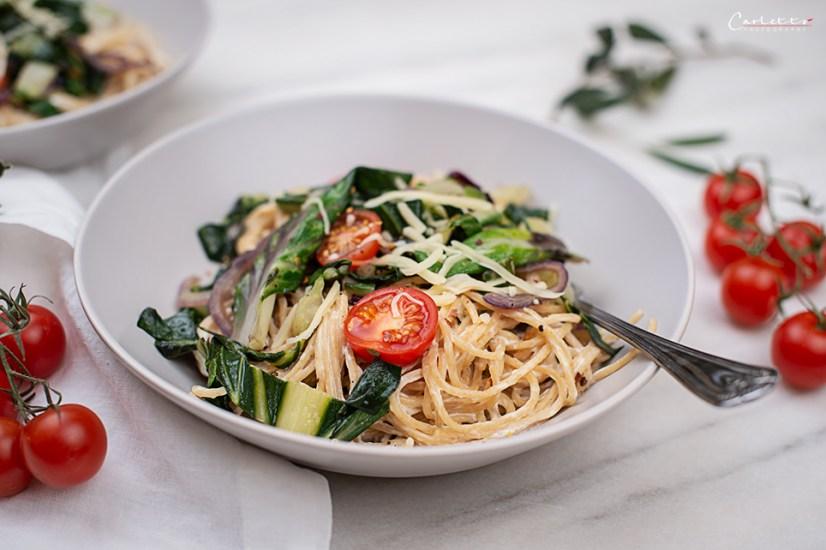 Dinkel Spaghetti mit Mangold