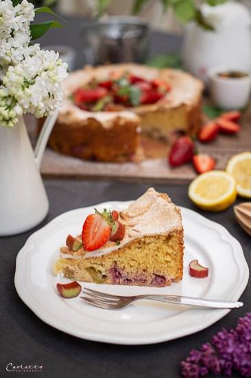 Erdbeer Rhabarber Tee Schaumschnitte