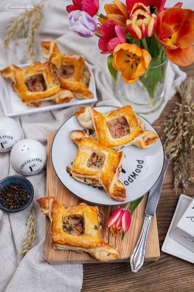 Pikante Blätterteig Golatschen mit Schinken Käse Füllung