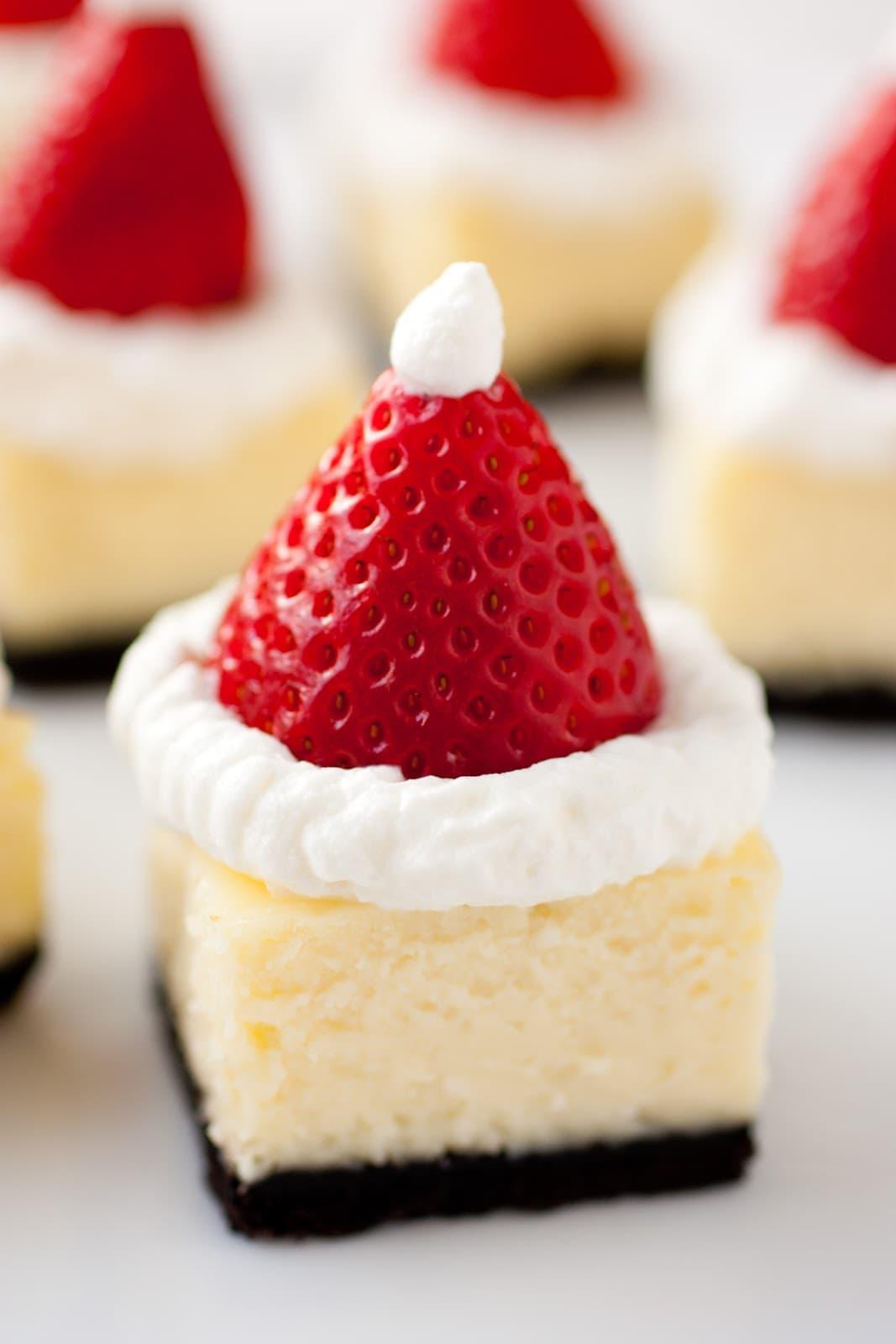 Santa Hat Cheesecake Bites Cooking Classy