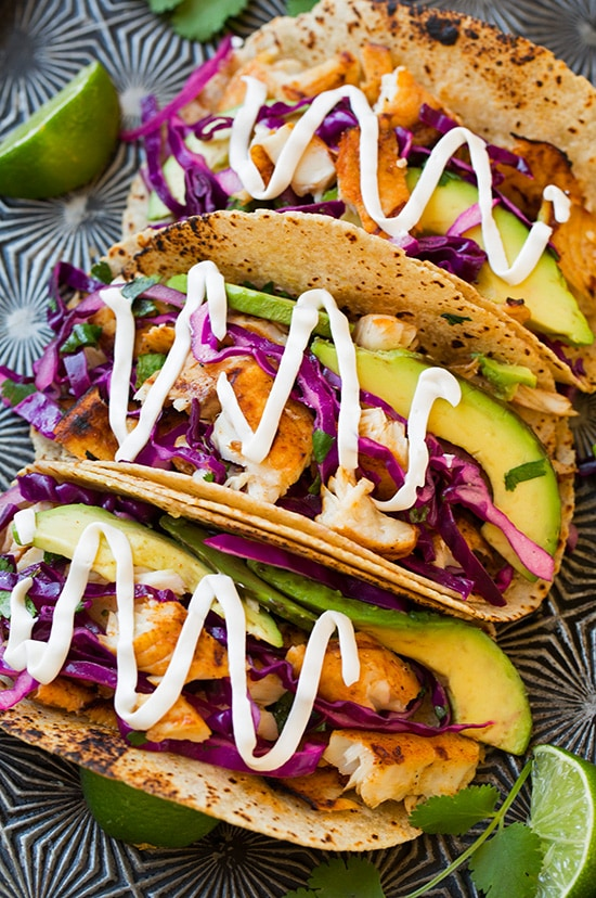"""Grilled Fish Tacos with Lime Cabbage Slaw Recipe 