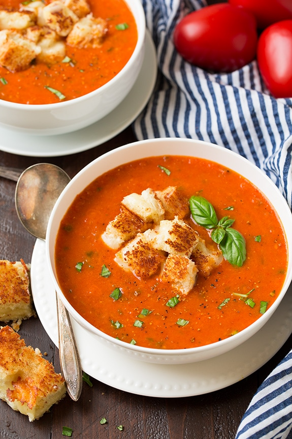 Roasted Tomato Basil Soup In Bowl With Croutons