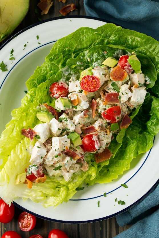 BLTA Chicken Salad Lettuce Wraps