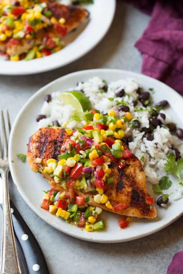 Grilled Cajun Chicken with Avocado Corn Salsa