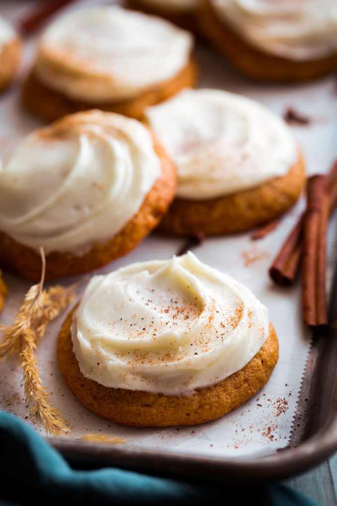 Pumpkin Cookies with Cream Cheese Frosting - Cooking Classy