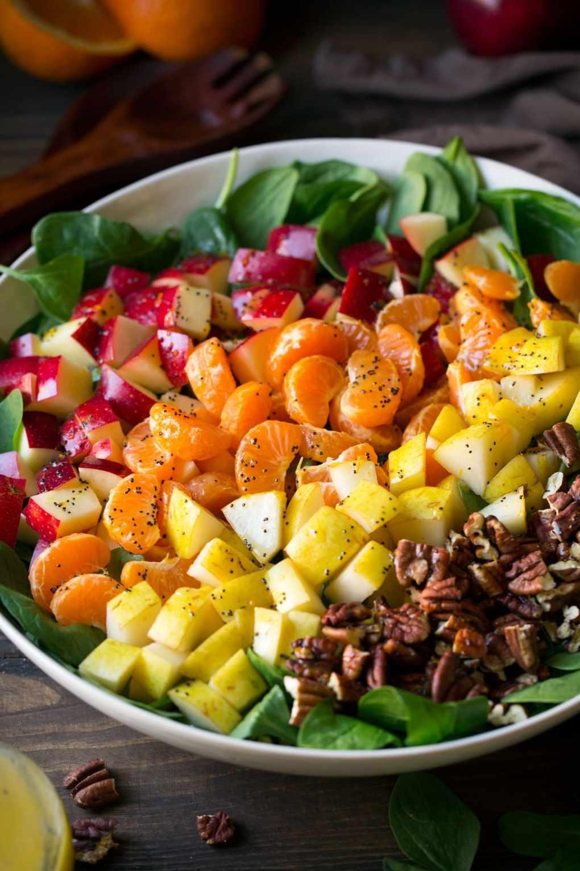 Apple Mandarin Orange Pear and Feta Spinach Salad with Orange Poppy Seed Dressing
