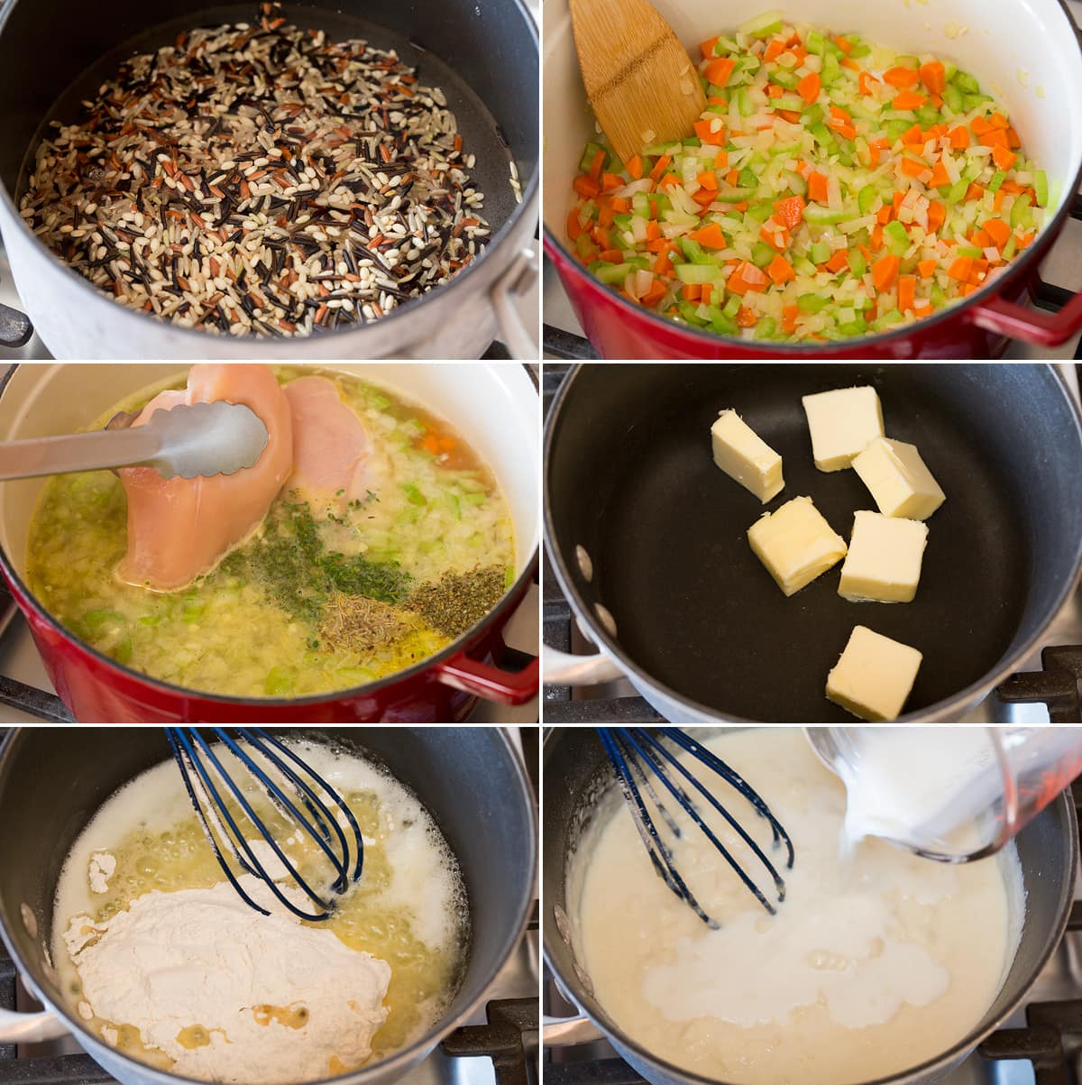 Collage of six pictures showing steps to prepare chicken and wild rice soup. Shows how to cook wild rice separately, how to cook chicken broth and herbs, and how to prepare bechemel sauce in one pot.