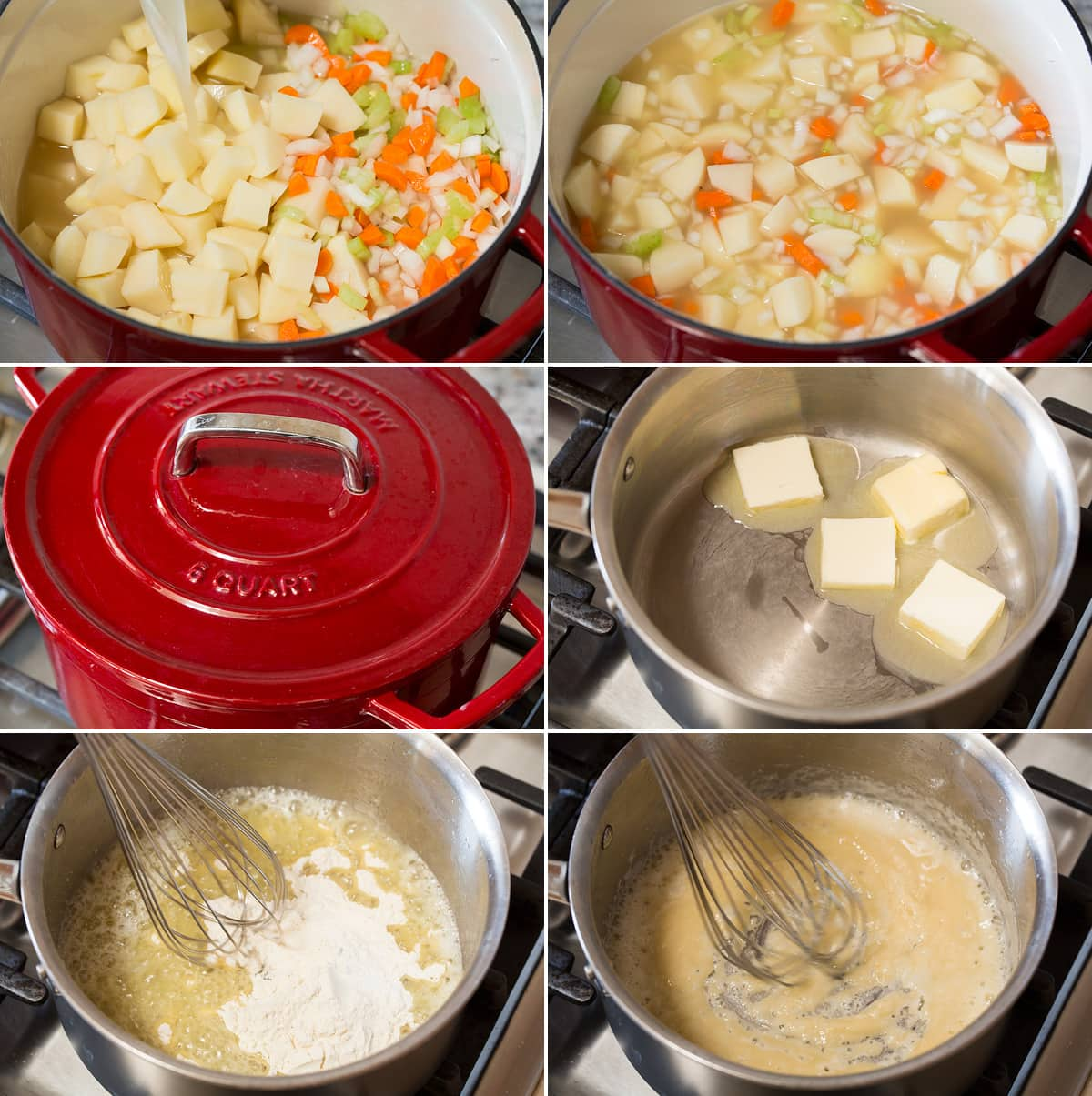 Collage of six photos showing steps to making potato soup. Shows simmering potatoes, carrots, celery and onion in chicken broth. Then includes first steps of making roux by melting butter and mixing with flour.