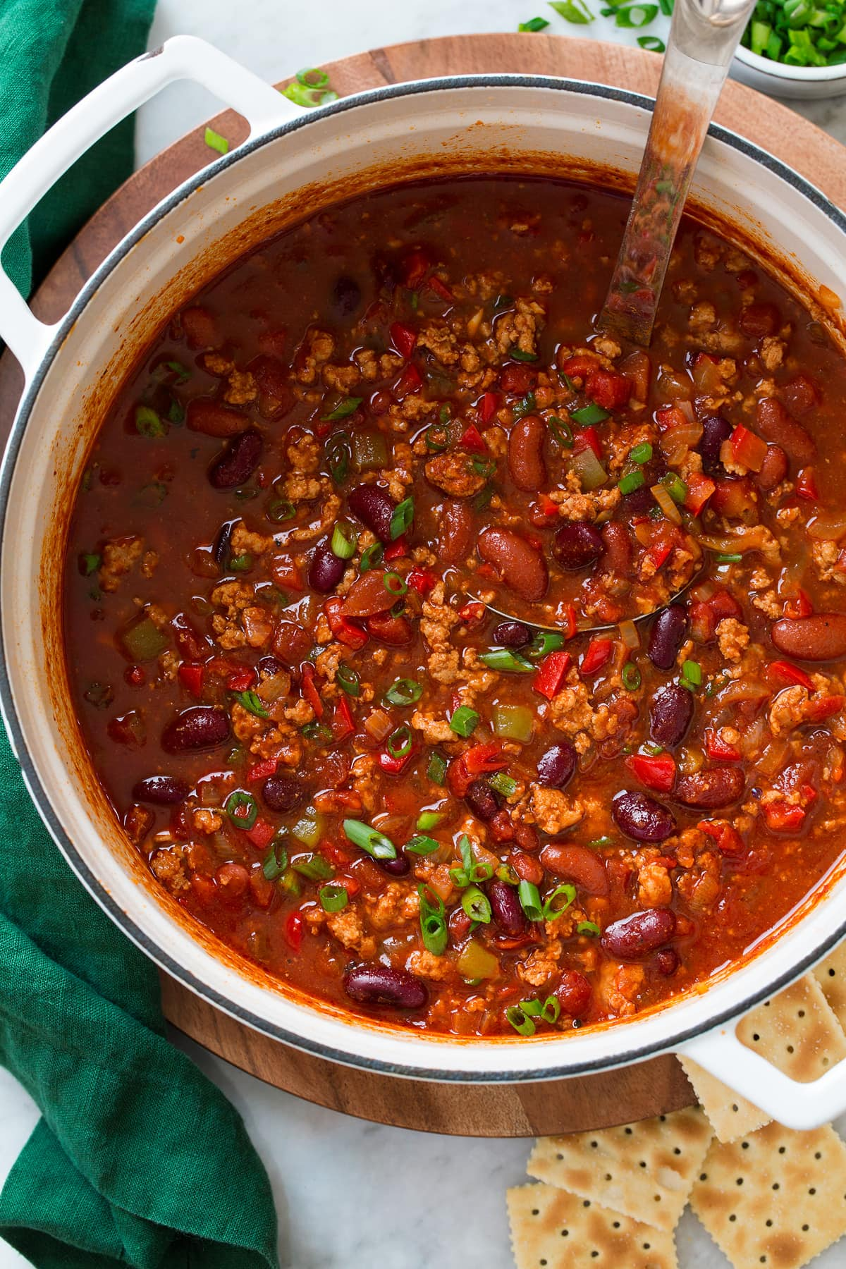 Overhead photo of turkey chili once finished in a pot.