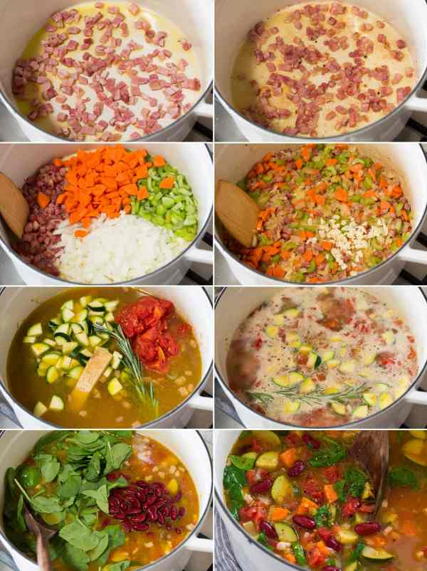 Collage of eight pictures showing steps to make minestrone soup in a saucepan on the stove.