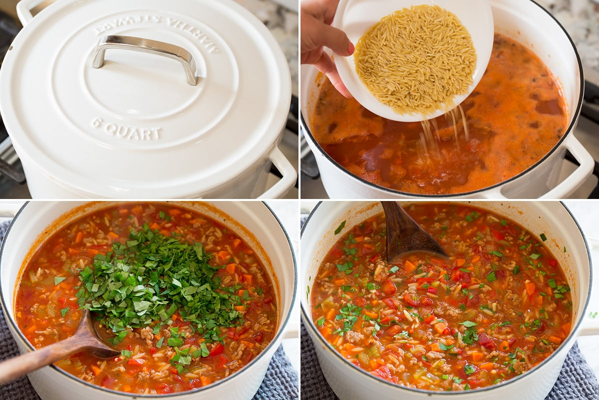 Collage of four pictures of further steps in the production of an Italian sausage soup. Shows cooking with the lid closed, adding orzo, adding herbs and the finished soup.