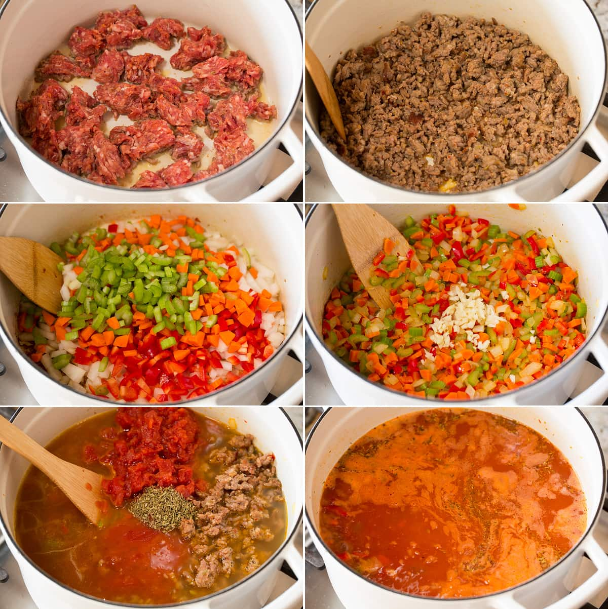 Collage of six images showing the steps involved in making the Italian sausage soup. Contains bratwurst, sautéed vegetables, broth and spices.