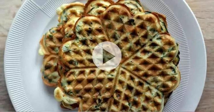 Glutenfri vafler med spinat og fuldkorn