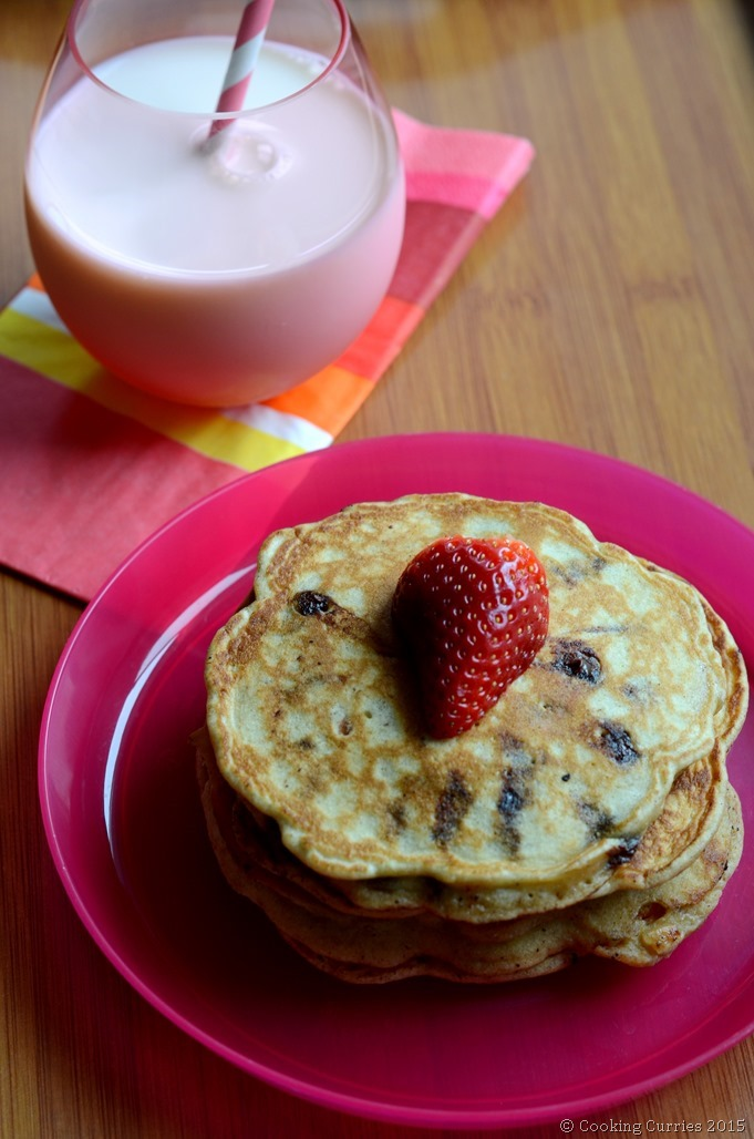 Chocolate Chip Almond Pancakes for valentine's Day - Cooking Curries