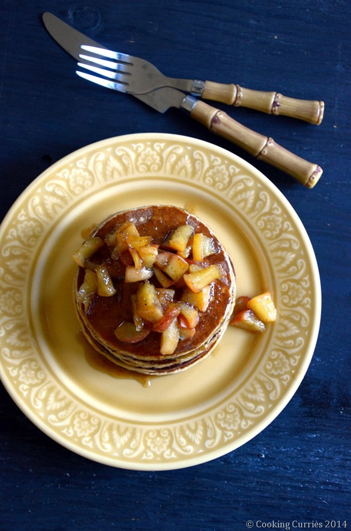 Apple Cinnamon Pancakes with Cardamom Spiced Honey Apple Compote - Mirch Masala