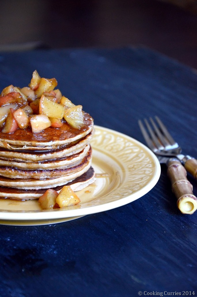 Apple Cinnamon Pancakes with Cardamom Spiced Honey Apple Compote - Mirch Masala (2)