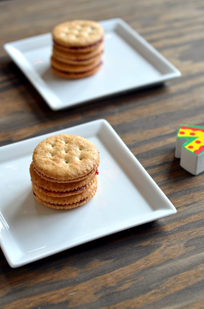 PBJ Cracker Sandwiches - Little People Food - Toddler Food - Kids Recipes - Mirch Masala