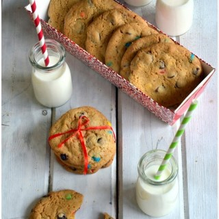 Deliciously chewy chocolate chip cookies with mini MnMs in it as a surprise bite! The kind of cookies your kids will enjoy baking with you and eating