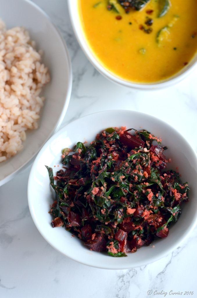 Beetroot Leaves Thoran - Beetroot Leaves Saute in Coconut - Vegan , Vegetarian , Gluten Free. www.cookingcurries.com