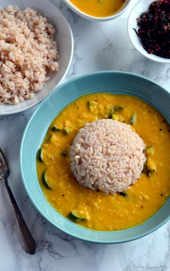 Zucchini Koottu - Zucchini Dal - Zucchini in Mung Dal and Coconut Sauce - Vegetarian , Vegan, Gluten Free