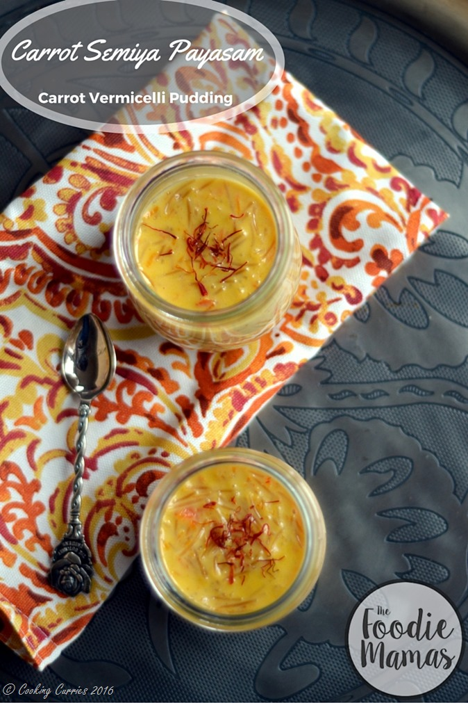 Carrot Semiya Payasam - Carrot Vermmicelli Pudding - www.cookingcurries.com