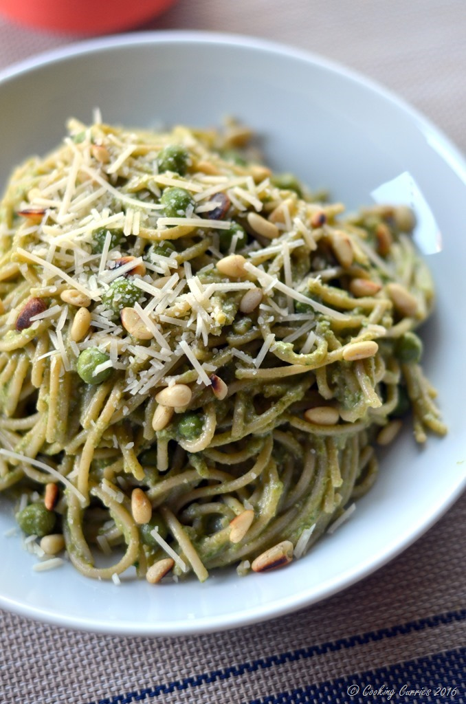Spring Spaghetti with Spinach Pea Pesto - Vegetatian and Gluten Free - www.cookingcurries.com (4)