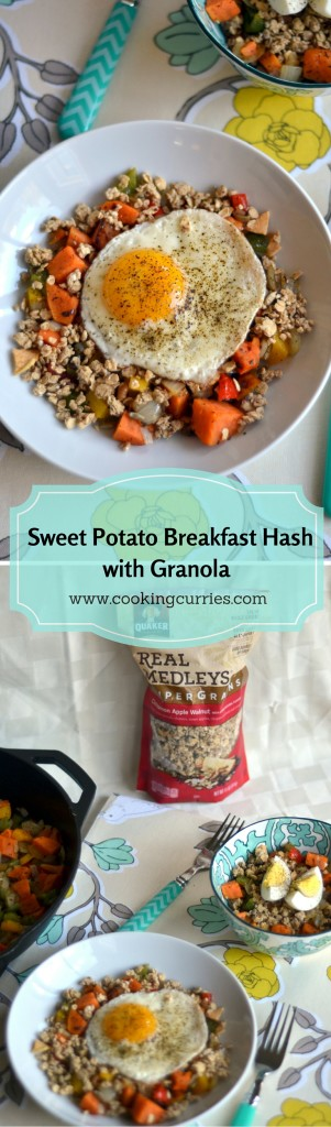 Sweet Potato Breakfast Hash with Granola and Egg - www.cookingcurries.com