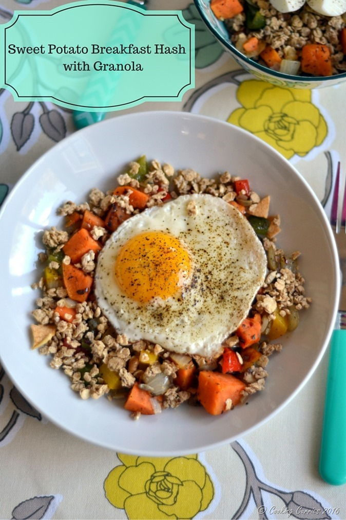 Sweet Potato Breakfast Hash with Granola - www.cookingcurries.com