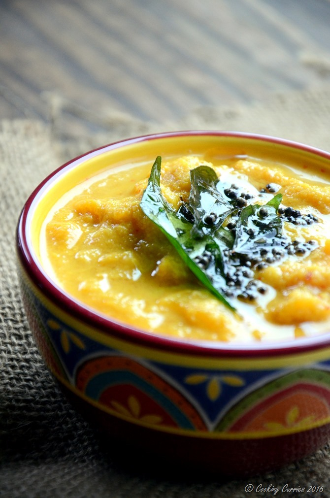 Mambazha Pachadi - Ripe MAngoes in a Lightly Spiced Coconut Sauce - Kerala Sadya Recipe for Onam, Vishu - Vegan , Vegetarian - www.cookingcurries.com