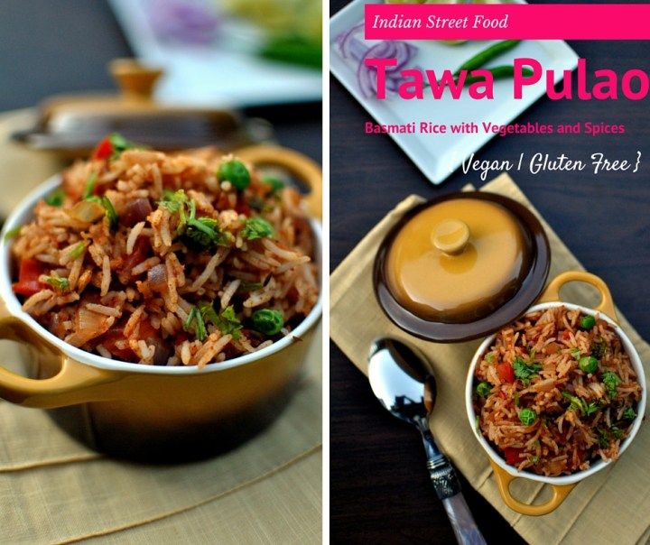 TAWA PULAO ~ BASMATI RICE WITH VEGETABLES AND SPICES, AN INDIAN STREET FOOD - Vegan Gluten Free