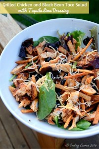 Grilled Chicken and Black Bean Taco Salad with Tequila Lime Dressing