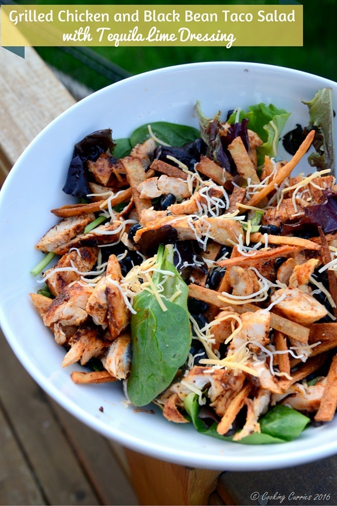 Grilled Chicken and Black Bean Taco Salad with Tequila Lime Dressing - www.cookingcurries.com
