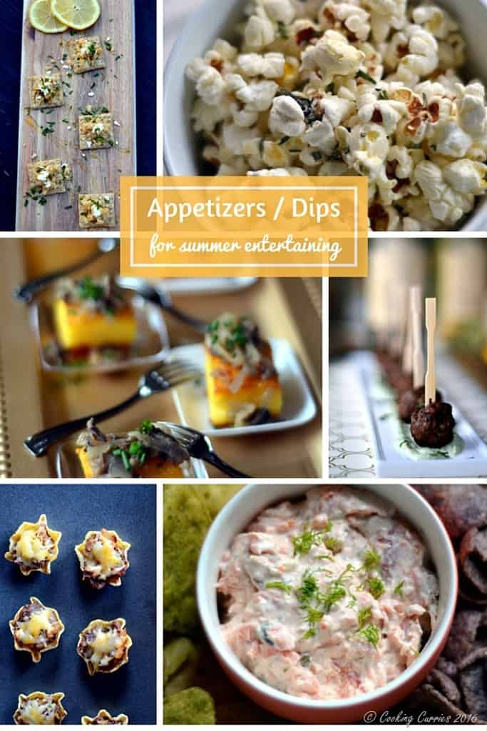 Appetizers and Dips for Summer Entertaining - Look for the Ultimate SUmmer Entertaining guide on www.cookingcurries.com