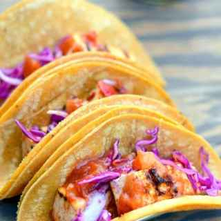 Sweet Ginger Chile Grilled Tofu Tacos with Pineapple Salsa and Pickled Onions and Cabbage - Vegan | Gluten Free