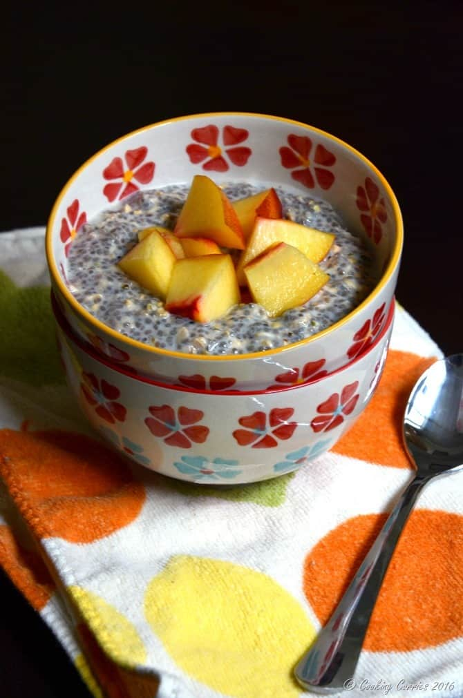No Cook Overnight Oatmeal, Chia and Hemp Pudding with Fresh Peaches -Cooking Curries (2)