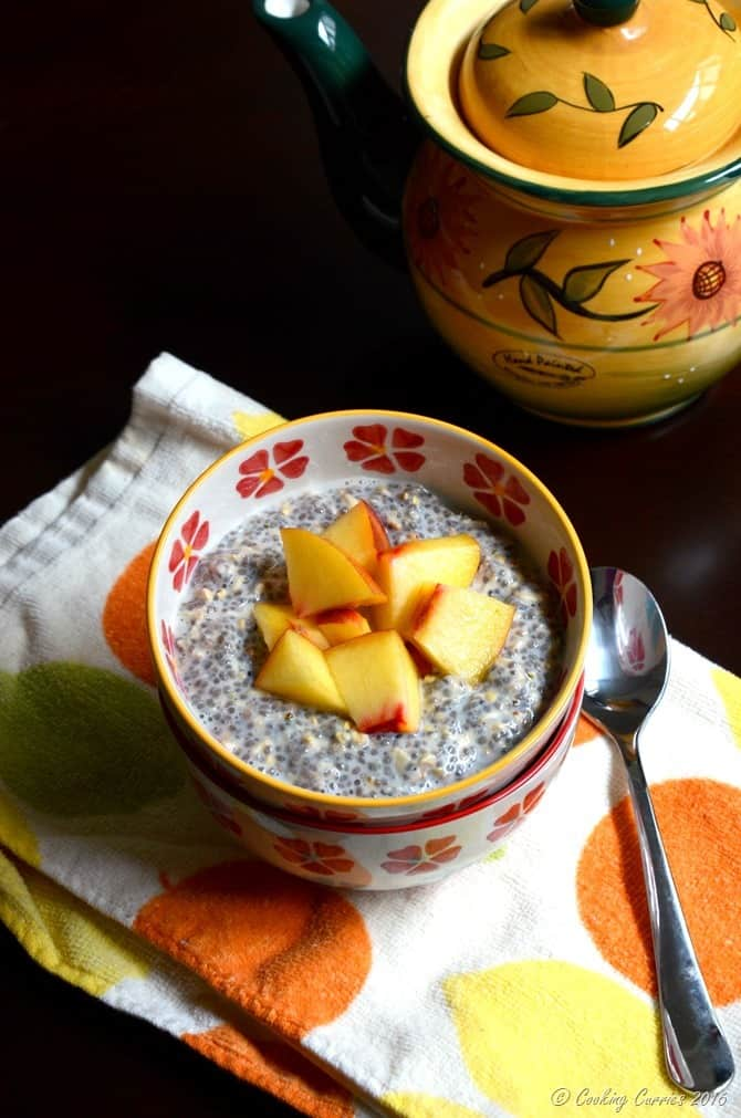No Cook Overnight Oatmeal, Chia and Hemp Pudding with Fresh Peaches -Cooking Curries (3)