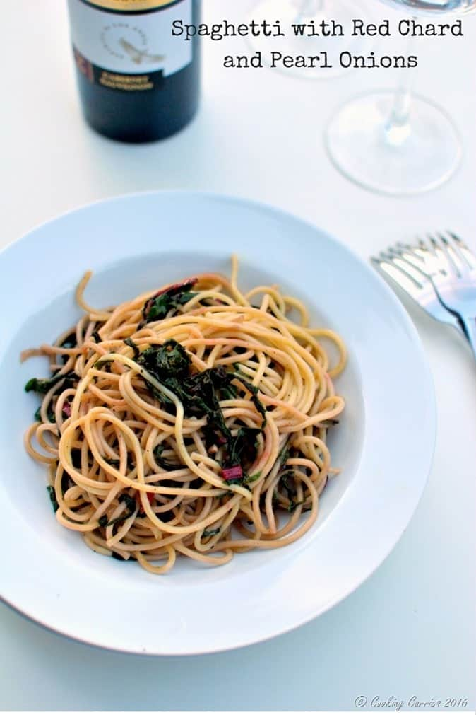 Spaghetti with Red Chard and Pearl Onions - Vegan, Can be Made Gluten Free - www.cookingcurries.com