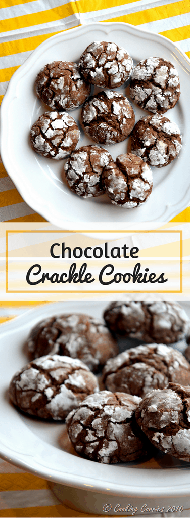 Chocolate Crackle Cookies - Christmas Cookies - Holiday Baking - www.cookingcurries.com
