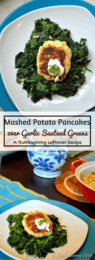 Mashed Potato Pancakes over Garlic Sauteed Greens - a Thanksgiving Leftover Recipe