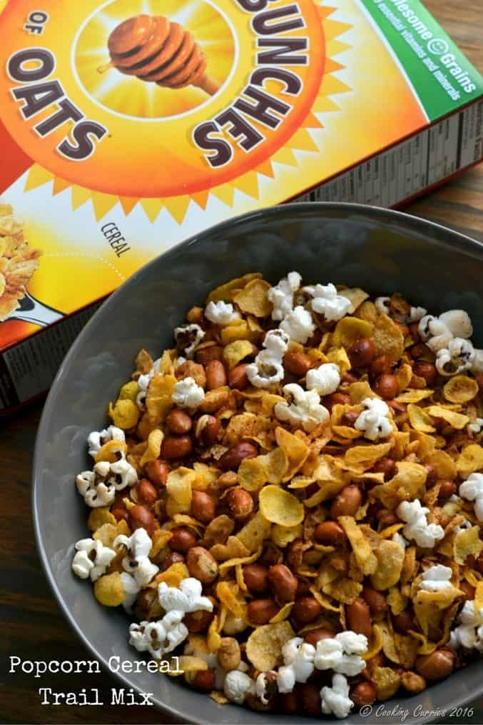 Popcorn Cereal Trail Mix - perfect snack for movies!