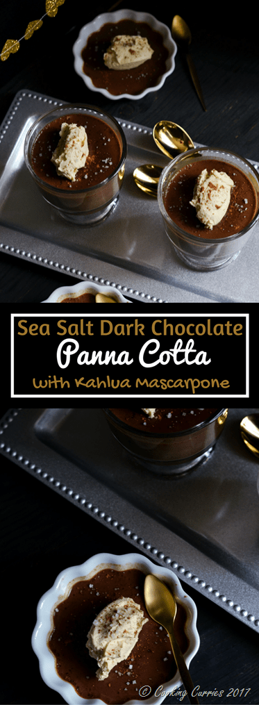 Sea Salt Dark Chocolate Panna Cotta with Kahlua Mascarpone