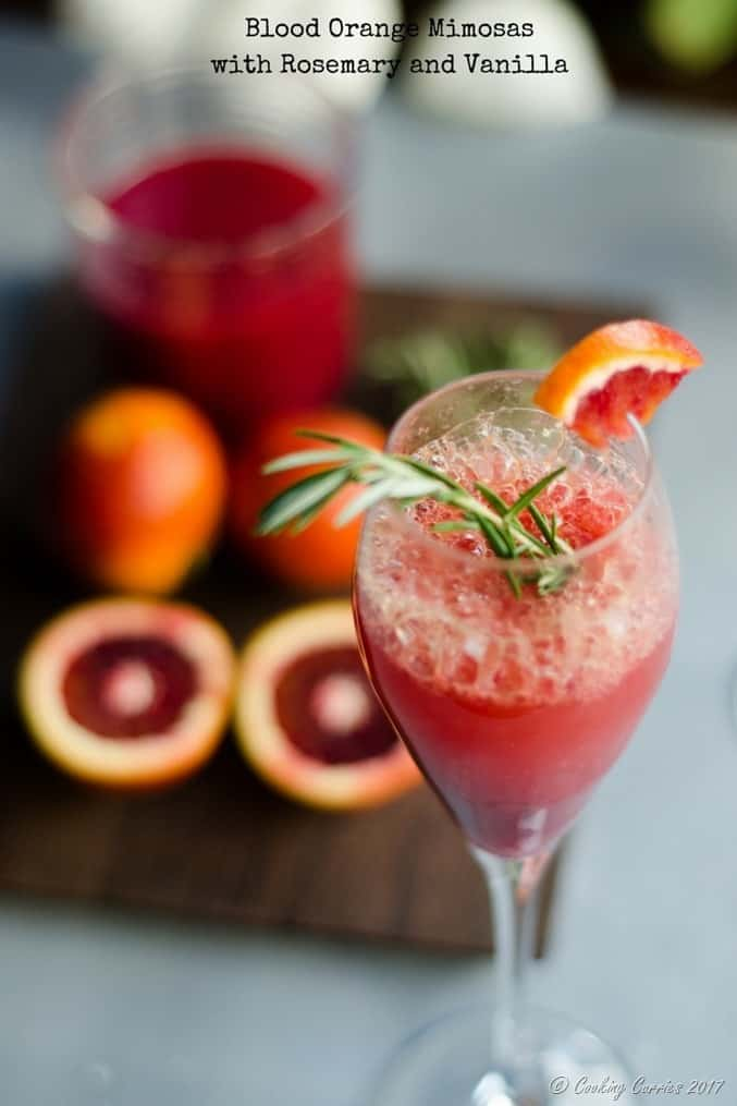 Blood Orange Mimosas with Rosemary and Vanilla