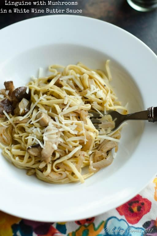 Linguine with Mushrooms in a White Wine Butter Sauce