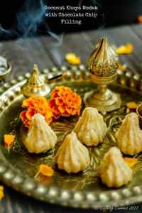 Coconut Khoya Modak with Chocolate Chip Filling
