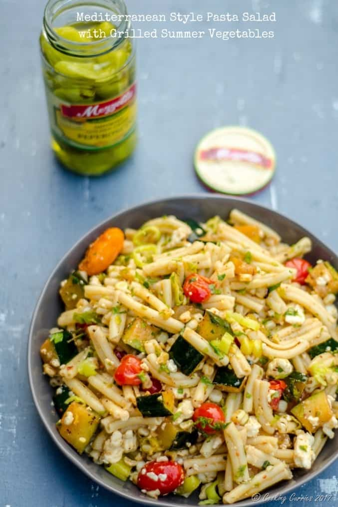 Mediterranean Style Pasta Saladwith Grilled Summer Vegetables